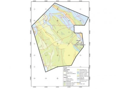 Geological map with location of the 3 drill holes completed by Raiden