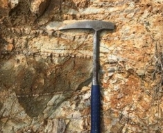 Photo 3:  Sbor Main brecciated porphyritic andesite with abundant sheeted quartz veining. This style of alteration, fracturing and quartz veining is typical for the type of alteration system proximal to a porphyry intrusion.