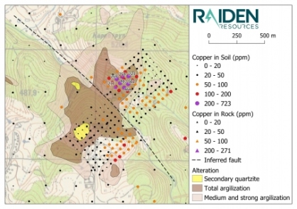 Map 5: Sbor Prospect alteration mapping and the results of Raiden's recent soil sampling program (copper). The prospect is defined by a 2.2 km² zone of intense argillisation and silicification (silica cap). A conspicuous and undrilled gold/copper/molybdenum in soil anomaly exists north-east of the inferred fault.
