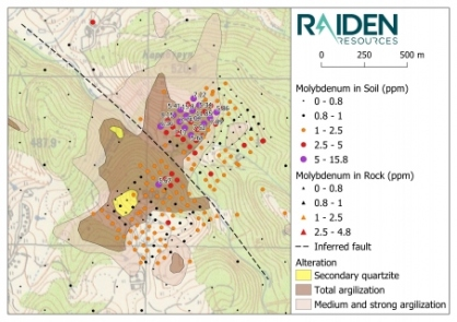 Map 6: Sbor Prospect alteration mapping and the results of Raiden's recent soil sampling program (molybdenum). The prospect is defined by a 2.2 km2 zone of intense argillisation and silicification (silica cap). A conspicuous and undrilled gold/copper/molybdenum in soil anomaly exists north-east of the inferred fault.