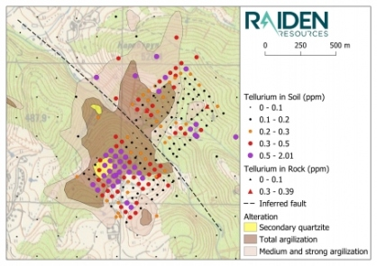 Map 7: The south-western portion of the soil sampling grid returned an intense tellurium anomaly in an area with extensive silica alteration. This geochemical response and alteration is interpreted to represent a setting which is relatively higher up in the system, compared to the responses and alteration observed in the north of the prospect.
