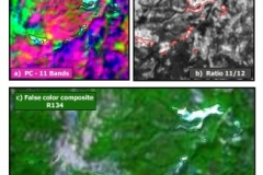 Map 8: Images of processed satellite data showing the argillic and advanced argillic alteration zones that define the Sbor West Prospect. Processing of Sentinel 2 data (13 Bands) was carried out by Raiden's technical team and defined a one kilometre long and northwest trending corridor along which at least seven zones of argillic alteration exist (black and red outlines). The Band 11/12 Ratio (b) and the False Colour Composite (c) together clearly map the Sbor West alteration zones.