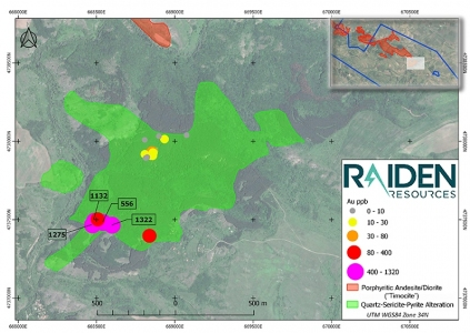 Map 4:  Rosoman Prospect quartz-sericite-pyrite (phyllic) alteration mapping and the results of QX's limited outcrop sampling program. The diagram shows gold concentrations in outcrop and rock. The results demonstrate that the phyllic alteration zone coincides with elevated concentrations of gold.