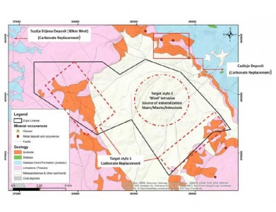 Geology, structure and mineral occurrences of the Zupa project area.